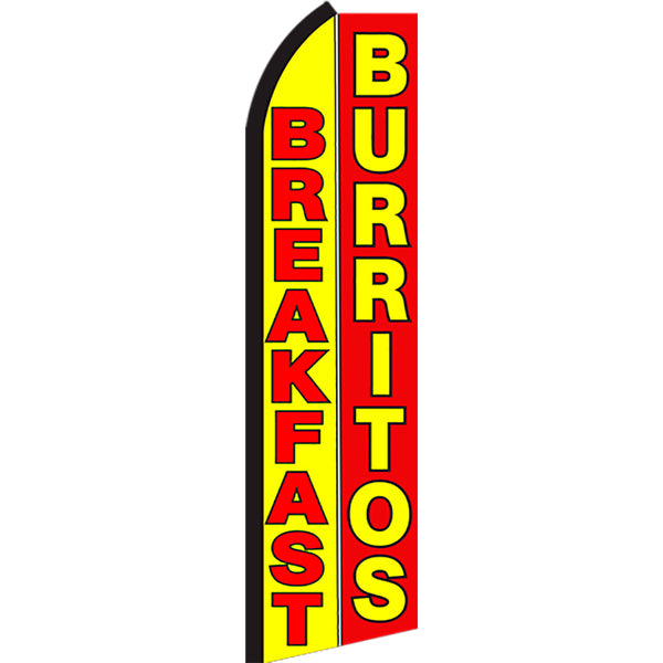 Breakfast Burritos Flutter Feather Banner Flag with Bundle Option (2.5 x 11.5 Feet)
