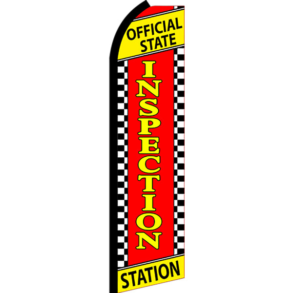 Official State Inspection Station (Checkered) Flutter Feather Banner Flag with Bundle Option (3 x 11.5 Feet)