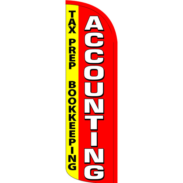 Accounting Tax Prep Bookkeeping Windless Feather Banner Flag with Bundle Option (3 x 11.5 Feet)