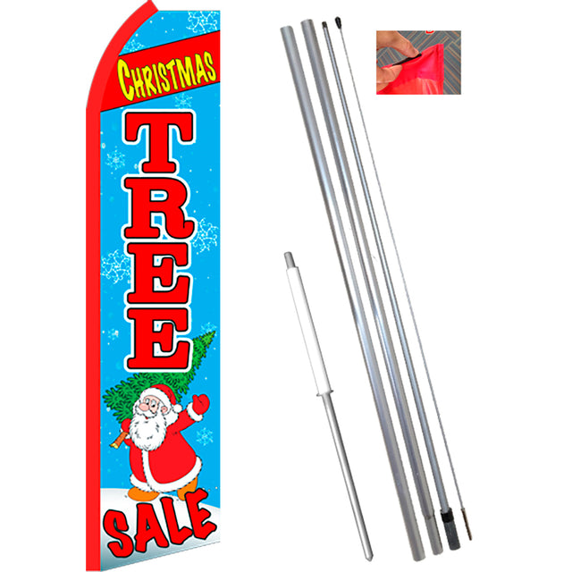 CHRISTMAS TREE SALE (Blue/Red) Flutter Feather Banner Flag Kit (Flag, Pole, & Ground Mt)