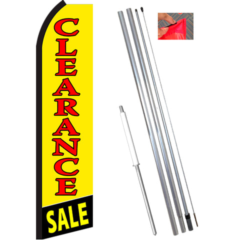 CLEARANCE SALE (Yellow/Red) Flutter Feather Banner Flag Kit (Flag, Pole, & Ground Mt)