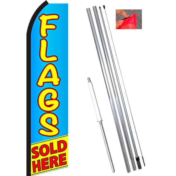 FLAGS SOLD HERE (Blue/Yellow) Flutter Feather Banner Flag Kit (Flag, Pole, & Ground Mt)