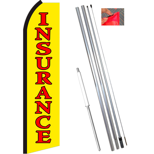 INSURANCE (Yellow/Red) Flutter Feather Banner Flag Kit (Flag, Pole, & Ground Mt)