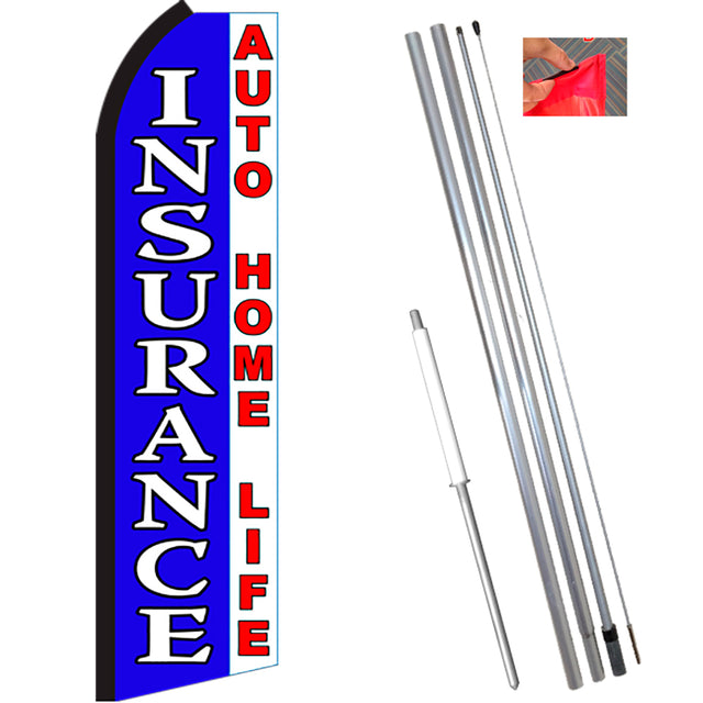 INSURANCE (Blue/White) Flutter Feather Banner Flag Kit (Flag, Pole, & Ground Mt)