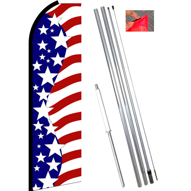 USA AMERICAN STARS Flutter Feather Banner Flag Kit (Flag, Pole, & Ground Mt)