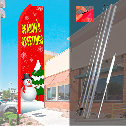 Season's Greetings (Red/Snowman) Flutter Feather Banner Flag Kit (Flag, Pole, & Ground Mt)