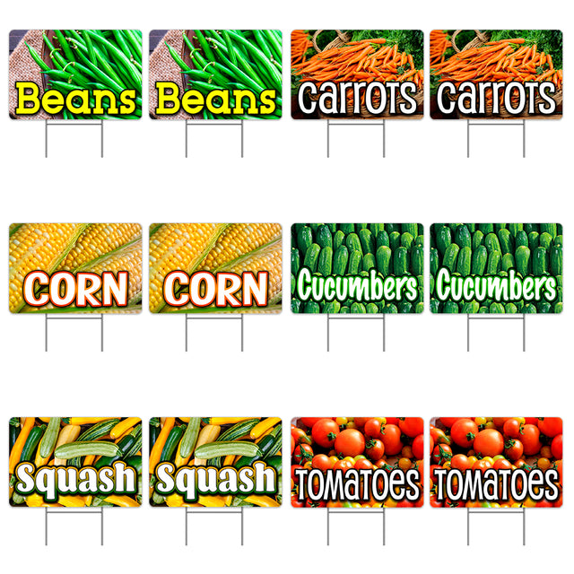 "Assorted Produce 12 Pack Yard Sign - Each is 24"" x 16"" (with Metal Stake) One Side Print - Made in the USA"