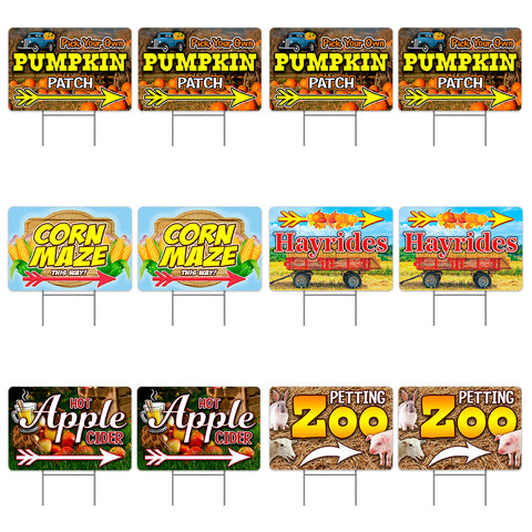 "Fall Harvest Festival 12 Pack Yard Sign - Each is 24"" x 16"" (with Metal Stake) Two Sided Print - Made in the USA"