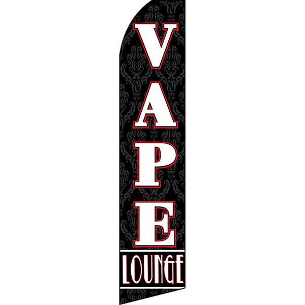 Vape Lounge Flutter Feather Banner Flag with Bundle Option (3 x 11.5 Feet)
