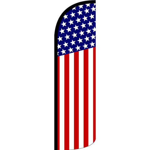 USA Flag (Pattern/Vertical) Windless Polyknit Feather Flag with Bundle Option (3 x 11.5 Feet)