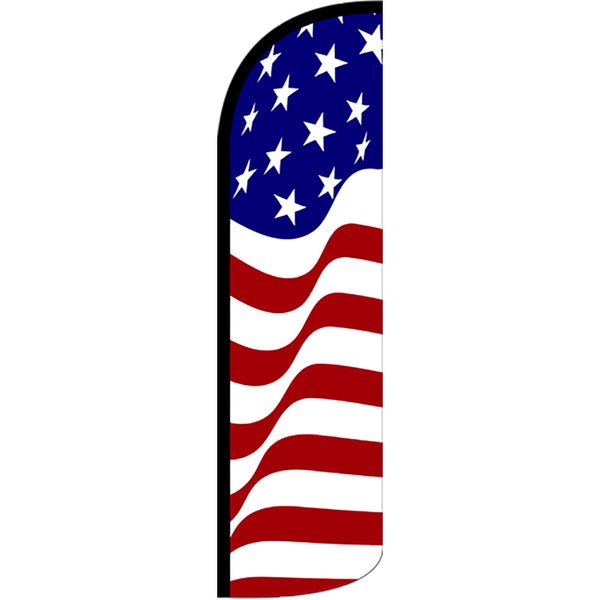 American Glory Windless Polyknit Feather Flag with Bundle Option (3 x 11.5 Feet)