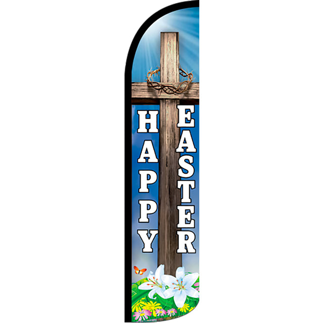 Happy Easter Windless Feather Banner Flag with Bundle Option (2.5 x 11.5 Feet)