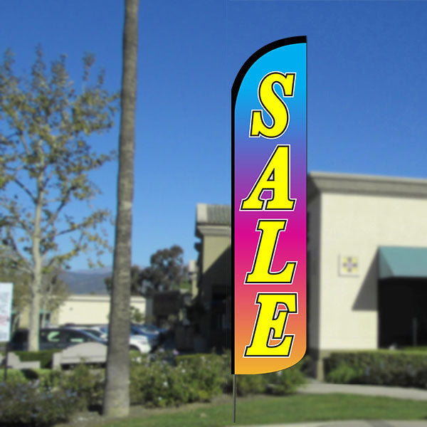 Sale (Multicolor) Windless Feather Banner Flag with Bundle Option (2.5 x 11.5 Feet)