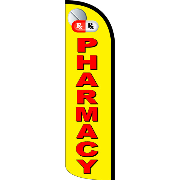Pharmacy Windless Polyknit Feather Flag with Bundle Option (3 x 11.5 Feet)