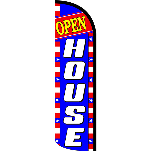 Open House Windless Polyknit Feather Flag with Bundle Option (3 x 11.5 Feet)