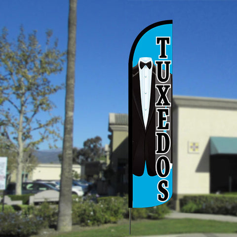 Tuxedos Windless Feather Banner Flag with Bundle Option (2.5 x 11.5 Feet)