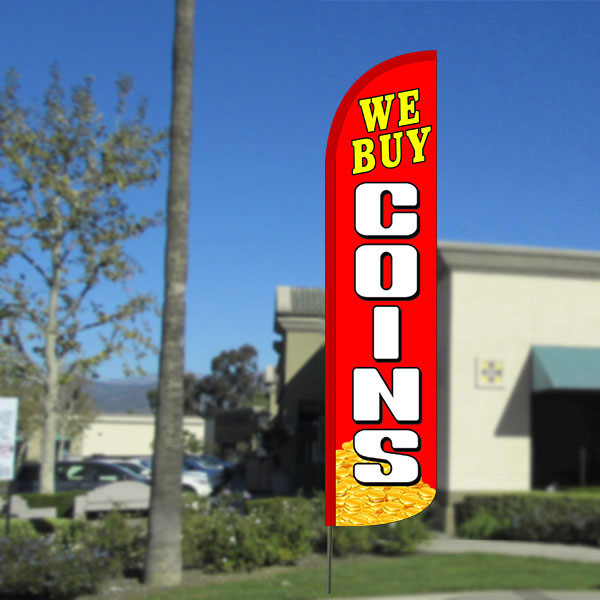 We Buy Coins Windless Feather Banner Flag with Bundle Option (2.5 x 11.5 Feet)