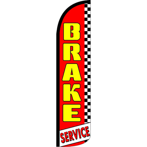 Brake Service (Red/Checkered) Windless Feather Banner Flag with Bundle Option (2.5 x 11.5 Feet)