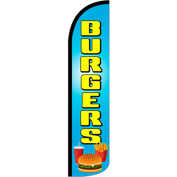 Burgers Windless Feather Banner Flag with Bundle Option (2.5 x 11.5 Feet)