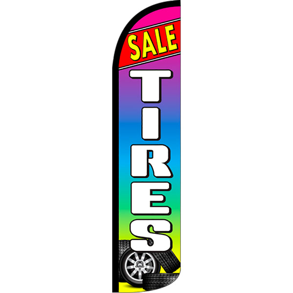 Tires Sale (Red/Multicolor) Windless Feather Banner Flag with Bundle Option (2.5 x 11.5 Feet)