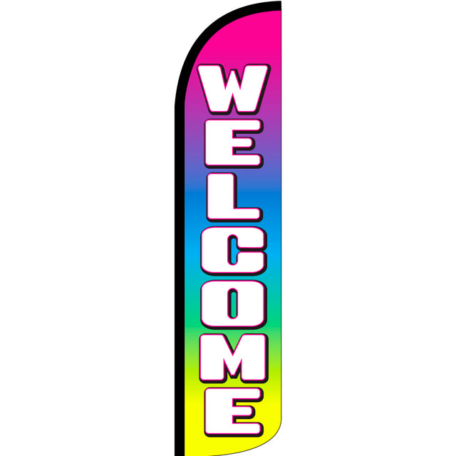 Welcome (Multicolor) Windless Feather Banner Flag with Bundle Option (2.5 x 11.5 Feet)