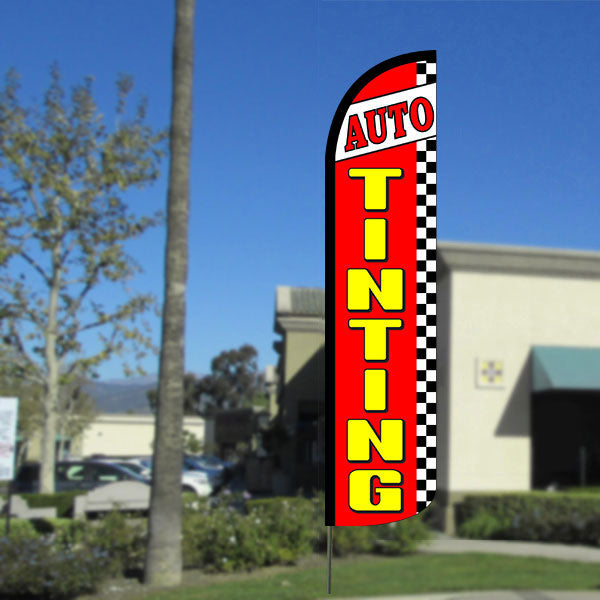 Auto Tinting (Red/Checkered) Windless Feather Banner Flag with Bundle Option (2.5 x 11.5 Feet)