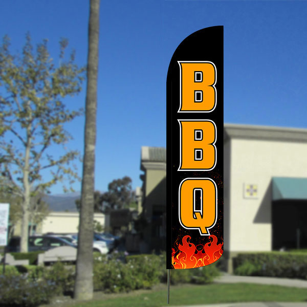 BBQ  Windless Feather Banner Flag with Bundle Option (2.5 x 11.5 Feet)