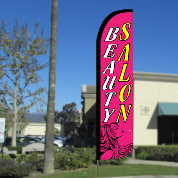Beauty Salon (Pink) Windless Feather Banner Flag with Bundle Option (2.5 x 11.5 Feet)