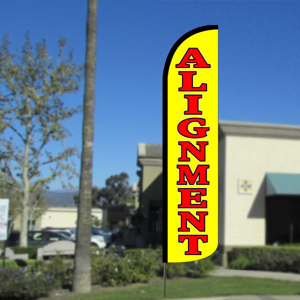 Alignment Windless Feather Banner Flag with Bundle Option (2.5 x 11.5 Feet)