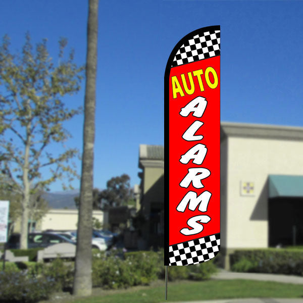 Auto Alarms (Checkered/Red) Windless Feather Banner Flag with Bundle Option (2.5 x 11.5 Feet)