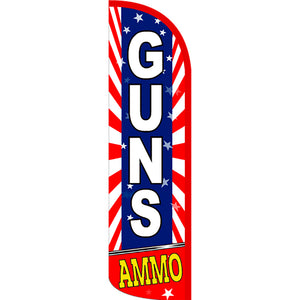 Guns Ammo (Starburst) Windless Polyknit Feather Flag with Bundle Option (3 x 11.5 Feet)