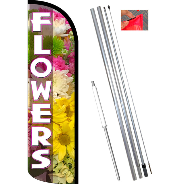FLOWERS (Pink) Windless Feather Banner Flag Kit (Flag, Pole, & Ground Mt)