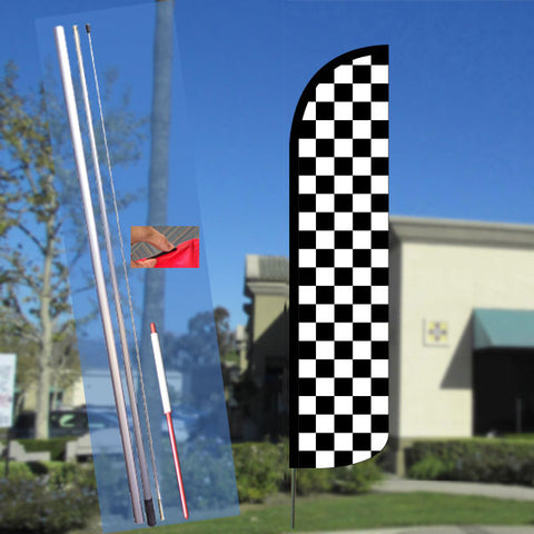 Checkered BLACK/WHITE Windless Feather Banner Flag Kit (Flag, Pole, & Ground Mt)