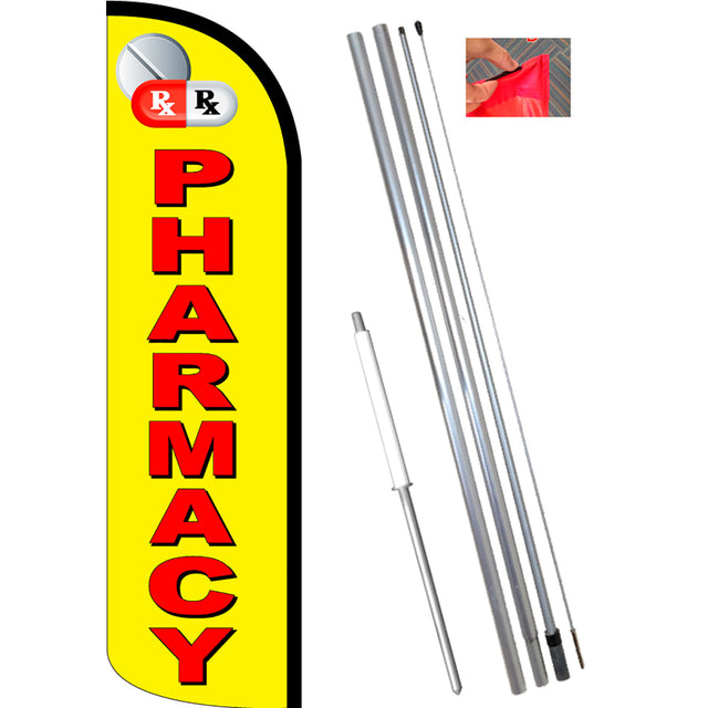 PHARMACY (Yellow/Red) Windless Feather Banner Flag Kit (Flag, Pole, & Ground Mt)