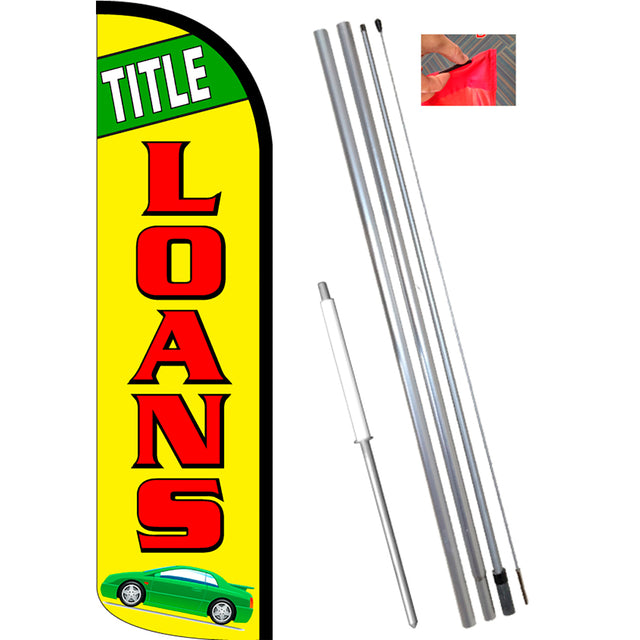 TITLE LOANS (Green/Yellow) Windless Feather Banner Flag Kit (Flag, Pole, & Ground Mt)
