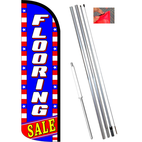 FLOORING SALE (Blue/White/Stars) Windless Feather Banner Flag Kit (Flag, Pole, & Ground Mt)