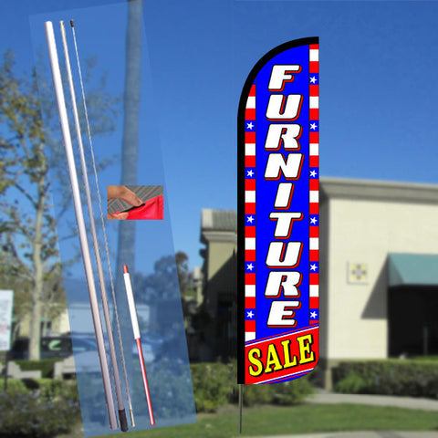 FURNITURE SALE (Blue/White/Stars) Windless Feather Banner Flag Kit (Flag, Pole, & Ground Mt)