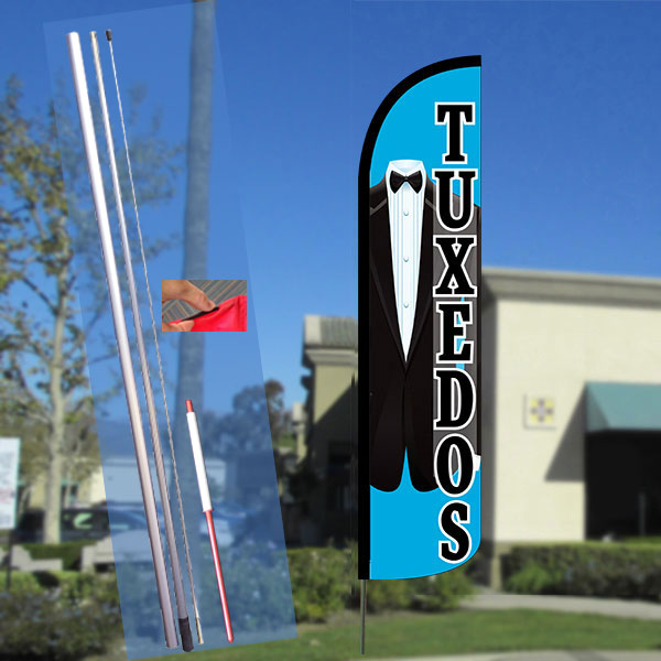 TUXEDOS Windless Feather Banner Flag Kit (Flag, Pole, & Ground Mt)