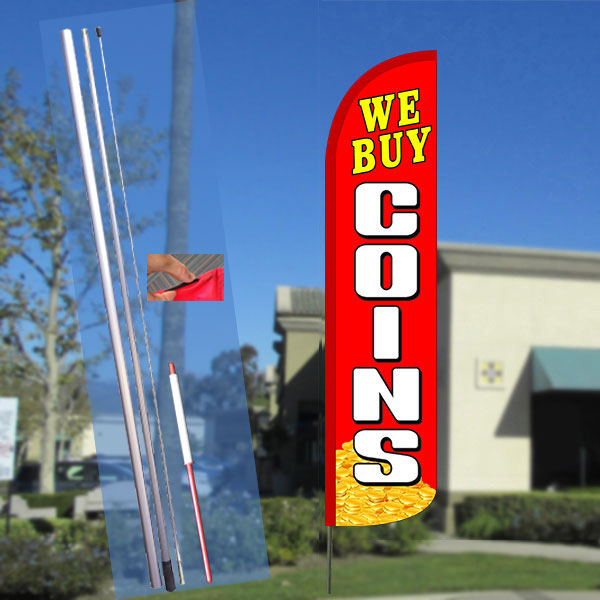 WE BUY COINS (Red/White) Windless Feather Banner Flag Kit (Flag, Pole, & Ground Mt)
