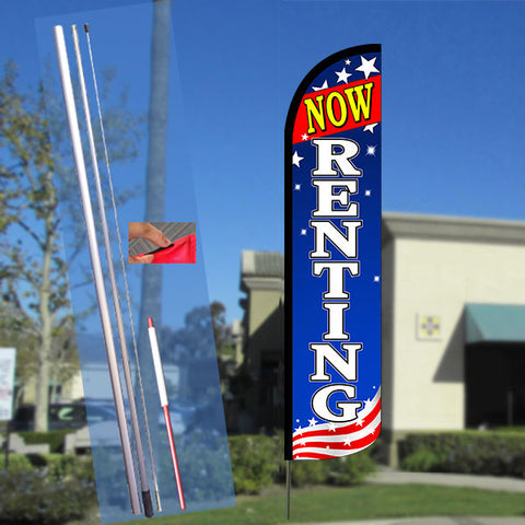 NOW RENTING (Patriotic White) Windless Feather Banner Flag Kit (Flag, Pole, & Ground Mt)
