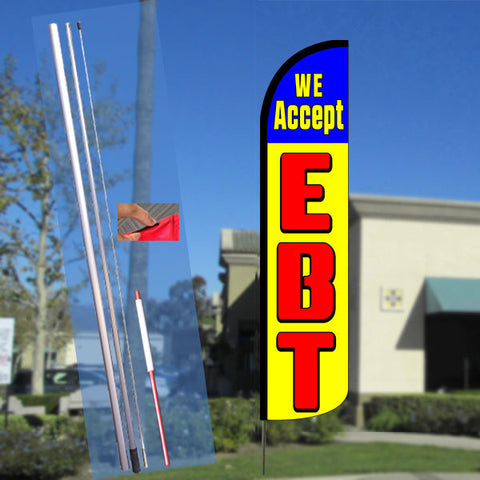 WE ACCEPT EBT (Blue/Yellow) Windless Feather Banner Flag Kit (Flag, Pole, & Ground Mt)