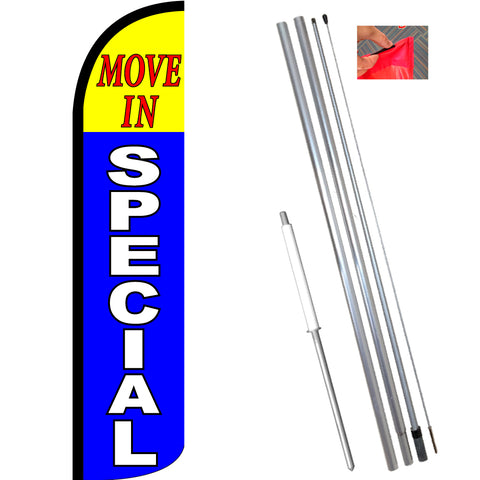 MOVE IN SPECIAL (Yellow/Blue) Windless Feather Banner Flag Kit (Flag, Pole, & Ground Mt)