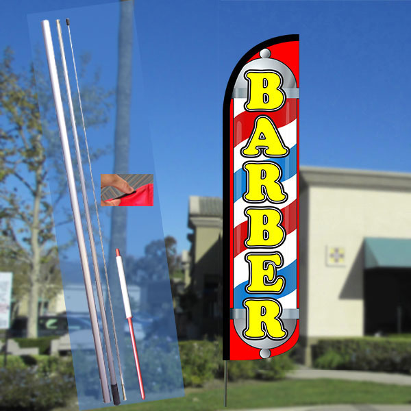 BARBER (Pole/Red) Windless Feather Banner Flag Kit (Flag, Pole, & Ground Mt)