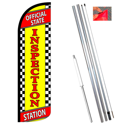OFFICIAL STATE INSPECTION STATION Windless Polyknit Feather Flag (3 x 11.5 feet)-Style Feather Flag Bundle 14' OR Replacement Flag Only 11.5'