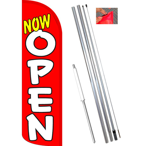 Now Open (Red/White) Windless Feather Banner Flag Kit (Flag, Pole, & Ground Mt)