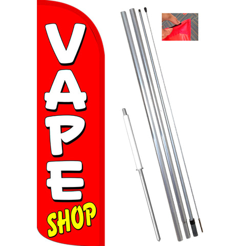 VAPE SHOP (Red/White) Windless Feather Banner Flag Kit (Flag, Pole, & Ground Mt)
