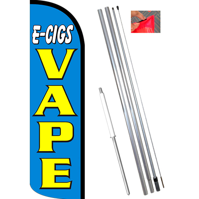 E-CIGS VAPE (Blue/Yellow) Windless Feather Banner Flag Kit (Flag, Pole, & Ground Mt)