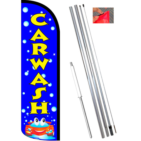 CAR WASH (Blue/Bubbles) Windless Feather Banner Flag Kit (Flag, Pole, & Ground Mt)