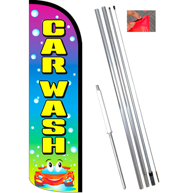CAR WASH (Multi/Bubbles) Windless Feather Banner Flag Kit (Flag, Pole, & Ground Mt)