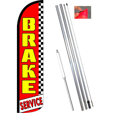 BRAKE SERVICE (Red/Checkered) Windless Feather Banner Flag Kit (Flag, Pole, & Ground Mt)